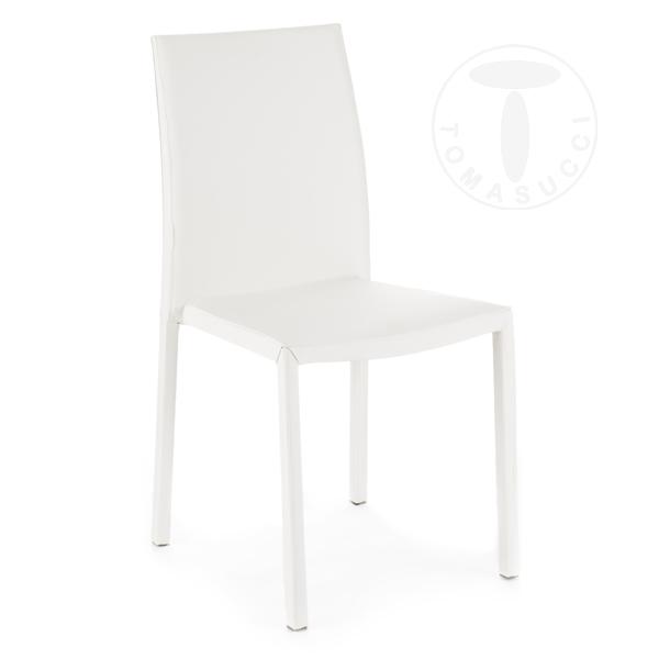 TOMASUCCI set 4 sedie CHARM WHITE pelle bianca H.90 L.44 P.55 ...