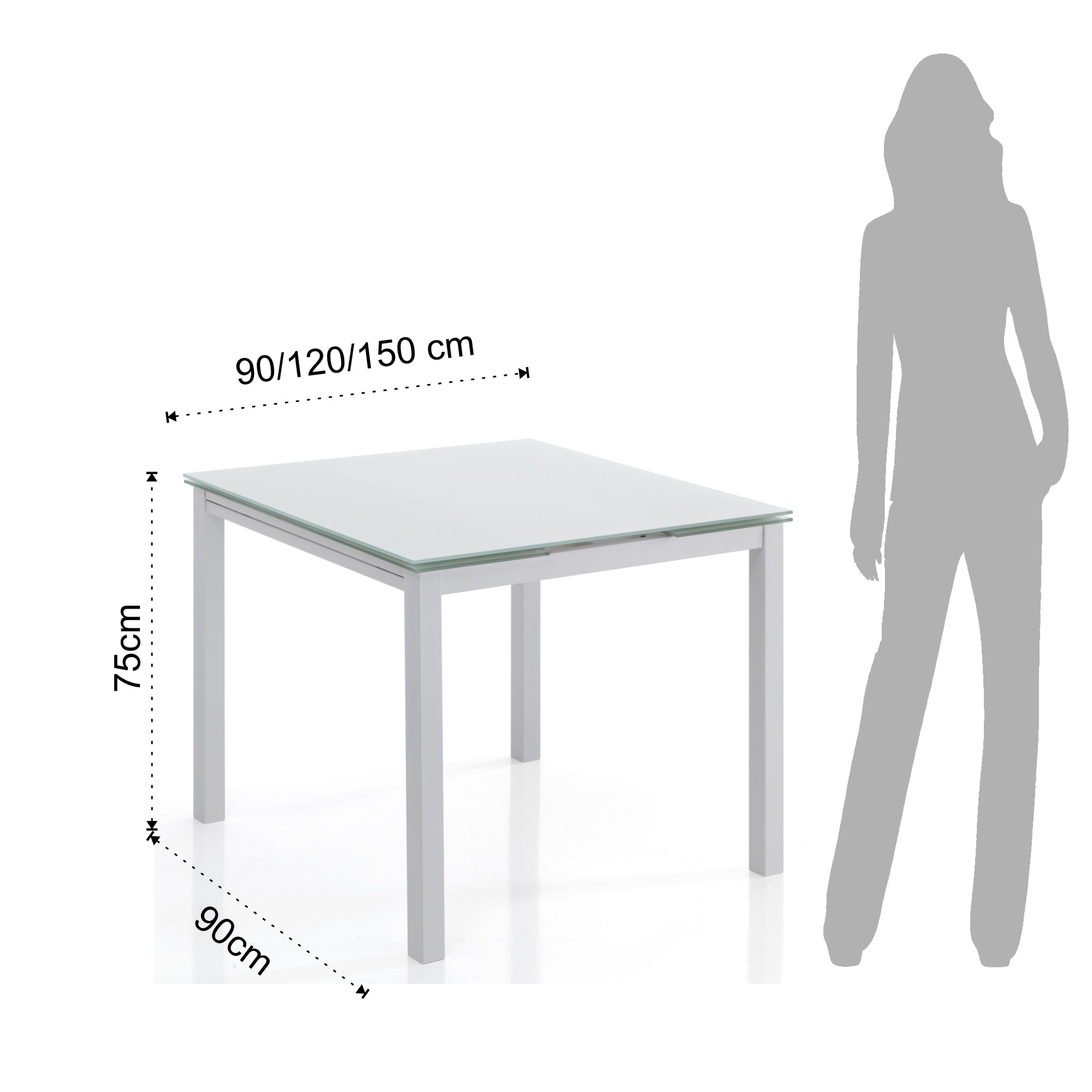 Shoes square extensible table new daily 90 white for Table 90 extensible