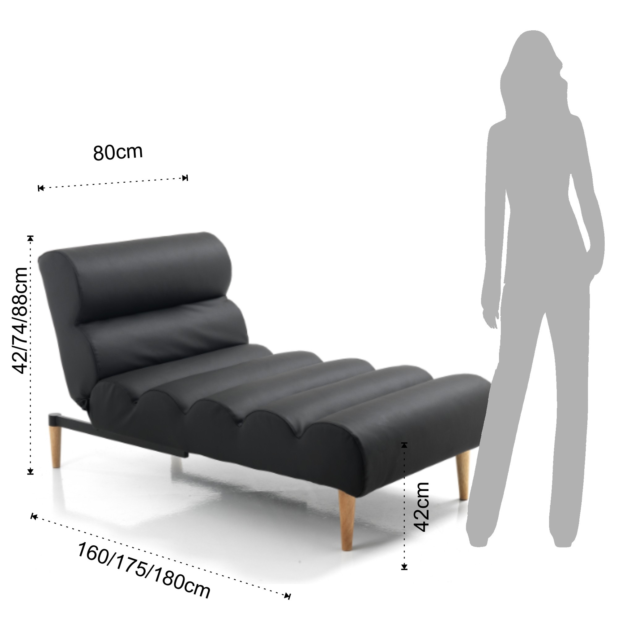 Blazers chaise longue bed gummy black for Dimension chaise longue