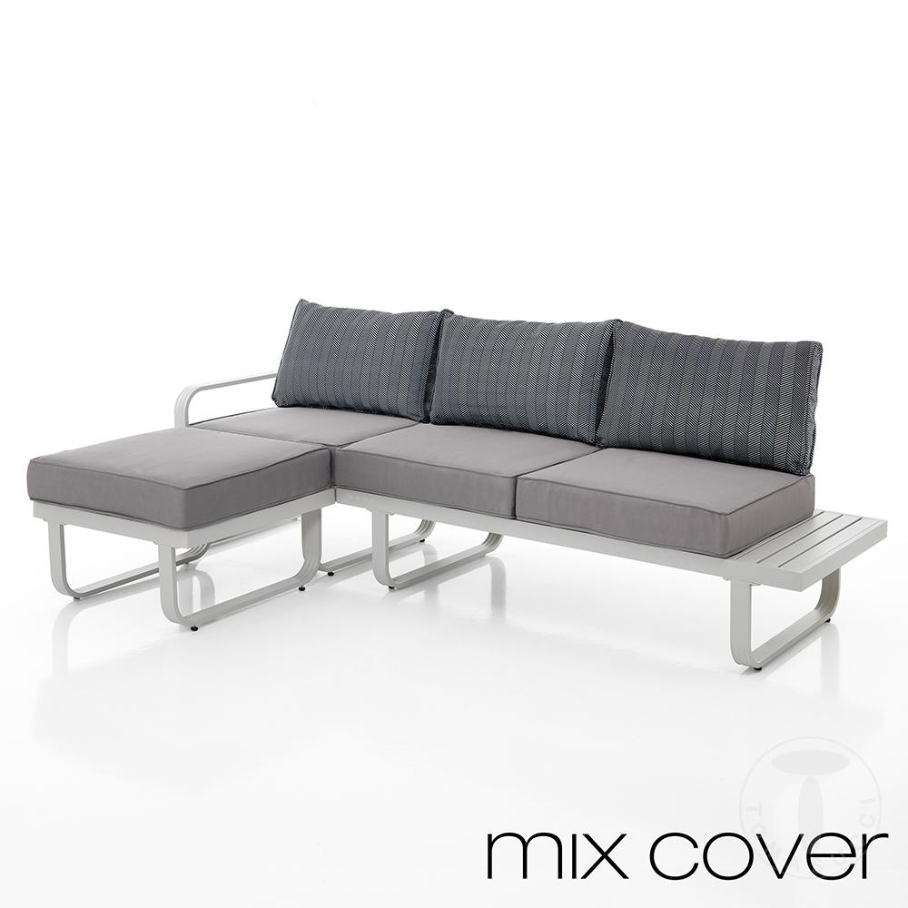 divano 3 posti con pouf da esterno ISCHIA CONSTRAST